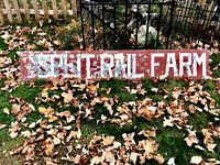 "Antique Primitive Hand Painted Wood Ad Sign ""The Split Rail Farm"" Farmhouse AAFA"
