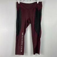 Second Skin Maroon Black Compression Crop Leggings Womens Athletic Pants Medium
