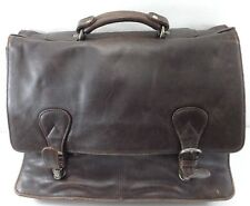 Kenneth Cole NY Brown Leather Briefcase Distress Look No Shoulder Strap