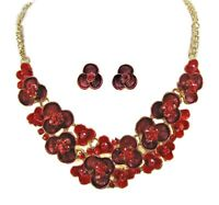 Red Crystal and Enamel Flower Necklace and Earring Set - New