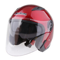 Dual Visors Motorcycle Bike 3/4 Jet Open Face Helmet Full Shield Red L