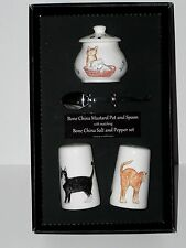 Cats Salt & pepper pots & mustard pot & spoon gift boxed