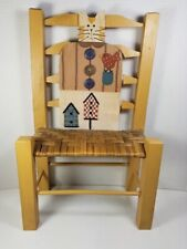 Wood Doll Chair w/Tabby Cat Back/Wire Whiskers/Buttons/Painted Bird & Birdhouses