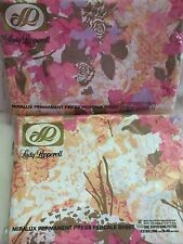 NOS Vtg 70's LADY PEPPERELL Mod FLORAL Pink White Sheet Fitted King Xl Long