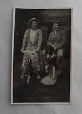 c1955 B/W Photograph. Happy Grandparents on Rocking Horse & Bicycle. Man/ Woman