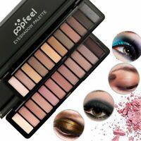 Popfeel 12 Color Waterproof Matte Shimmer Nude Glitter Eyeshadow Palette Makeup