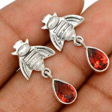 Bee - Garnet - Madagascar 925 Sterling Silver Earrings Jewelry Be57041
