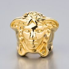 VERSACE Ring Gold Medusa Head Men's Fashion Jewelry Hip Hop Size 8 Made in Italy