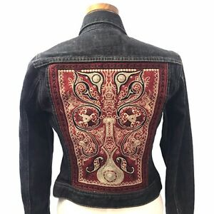 Lucky Brand Embroidered Back Black Denim Trucker Jacket Boho Hippie Small
