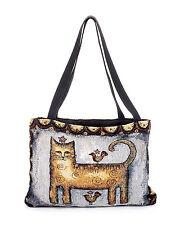 Cat Tote Bag Tapestry E. Smithson Tabby Stars Birds Purse Primitive Art