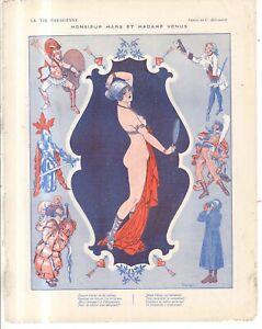 1916 La Vie Parisienne Original French art cover - Mars and Venus - by Herouard