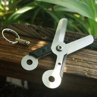 Outdoor Survival EDC Mini Spring Scissor Pocket Tool Steel Key U7C6 Q3F0