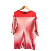 J. Crew Sweater Shift Dress Size Medium Orange and White Stripe 100% Cotton I