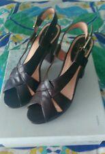 Sandalias de piel marron con plataforma y tacon firma Hazel,NUEVAS,n39(pvp110€)