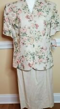 NWT Leslie Fay Women's Jacket Skirt Suit Set Tan Multi Floral Padded Size 18