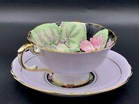 Paragon Rare Geranium Pattern Double Warrant 1939 Footed Teacup/Saucer Floral