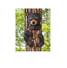 Outdoor Garden Statue Tree Animal Huggers Bear Decor Yard Miniature Figurine
