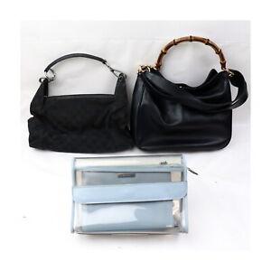 Gucci Leather Canvas Vinyl Hand Bag Clutch 3 pieces set 525613