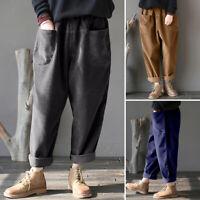 ZANZEA UK Womens Elastic Waist Harlan Corduroy Pants Casual Loose Baggy Trousers