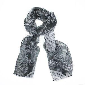 BNWT Elegant Black & White Circular Geo Print Unusual Boho Scarf Hijab Headscarf