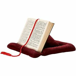 Pyramid Bookrest Tablet iPad Book Holder Reading Pillow Cushion Stand Maroon
