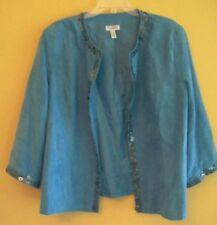 Women's PLUS 2X 22/24 DRESSBARN Blue EMBELLISHED Open Blazer Jacket Faux Suede