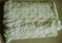 Collectible Vintage 72 x 104 Creamy White Hand Made Crocheted &Fringed Bedspread