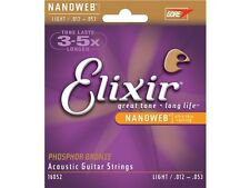 4 SETS x Elixir Nanoweb Acoustic Guitar Strings (12-53 Light) Phosphor Bronze