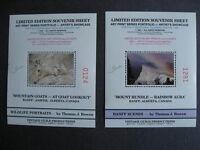 "Goats,Mountain 2 non-postal souvenir sheets limt.edition Thomas J.Bowen""signed"""