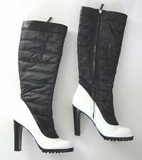 $750 TAPEET by VICINI Black White Nylon Leather PUFFER Boots EUR-40 US-9.5 ITALY