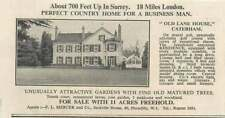 1936 Old Lane House, Caterham, Attractive Gardens 11 Acres, 9 Bedrooms For Sale