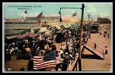 UNCOMMON WILDWOOD NEW JERSEY JULY 4th AUTO PARADE ON BOARDWALK POSTCARD