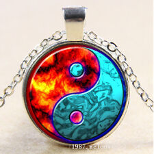 Photo Cabochon Glass Silver Chain Pendant Necklace(Ying Yang Moon)