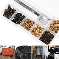 120 Sets Leather Craft Repair Double Cap Rivets Tubular Metal Studs Fixing Tool~
