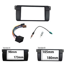 Double 2 Din Stereo Panel for BMW 3 Series E46 Dash Trim Kit Fascia +ISO Wire