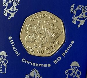2010 Isle of Man 'Six Geese A Laying' Christmas 50p Coin (UNC) in Display Case
