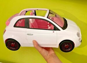 Barbie Doll Fiat 500 White Car  Open Top