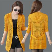 New Women Autumn Korean Fashion Thin Hollow Out Knitting Cardigan Sweater Coat