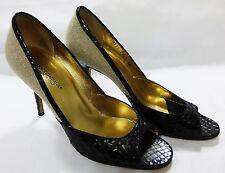 Dolce Gabbana women size 38 open toe heel shoe leather canvas