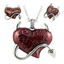 Heart Necklace & Earrings Red Sexy Devil Jewelry Set Stainless Steel By Controse