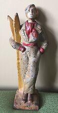 "Antique Cast Iron Lady Skier Doorstop 1920 Full Figure 12 3/8"""