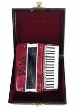 "3 1/2"" Burgundy Accordion Miniature W/Case (Ckr) Miniature Musical Instrument"