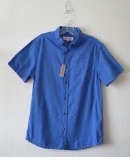 RIVER ISLAND SHIRT Royal Blue Cotton Short Sleeve Sz M BNWT
