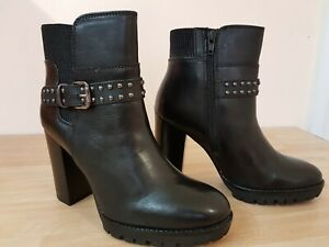 Ladies Black Leather Ankle Boots High Heel Size UK 8 Zip Chunky New Chelsea