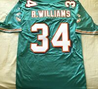 Ricky Williams Miami Dolphins authentic Reebok triple stitched aqua jersey NEW