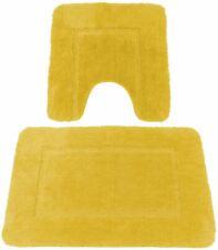 SOFT YELLOW CASHMERE-FEEL CHENILLE ANTI-SLIP BATH MAT & PEDESTAL MAT