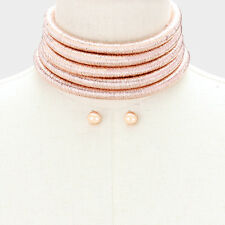 "12"" rose gold 5 layer multi row replica choker collar coil necklace earrings"