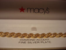 DIAMOND ACCENT FINE SILVER PLATE TWIST YELLOW GOLD BRACELET BRAND NEW - $100