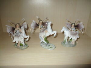 3 Beautiful Figures Elf With Unicorn Detachable Wings From Metal High 13 - 14 CM