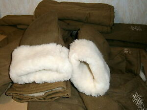 Super Warm Fur Mittens Wool Fleece Russian Army Gloves Soviet Military Surplus